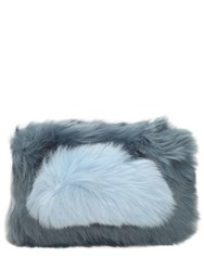 Charlotte Simone Candy Faux Fur Clutch Blue