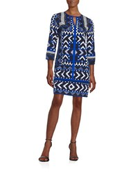 Vince Camuto Geometric Shift Dress Blue