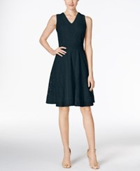Charter Club Petite Lace Fit And Flare Dress Only At Macy's Intrepid Blue