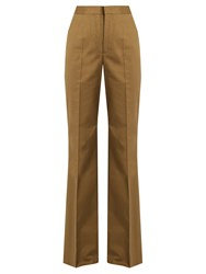 Red Valentino High Rise Flared Leg Chino Trousers Khaki