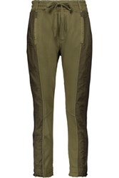 Haider Ackermann Grosgrain Trimmed Paneled Cotton And Satin Twill Track Pants Army Green