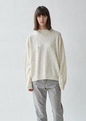 6397 Cable Trim Cotton And Wool Sweater White
