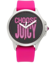 Juicy Couture Women's Jetsetter Hot Pink Silicone Strap Watch 38Mm 1901097