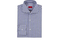 Isaia Men's Gingham Cotton Linen Dress Shirt Navy