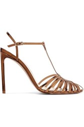 Francesco Russo Cutout Mirrored Leather Sandals Gold