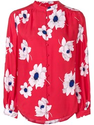 Equipment Floral Pattern Shirt Red