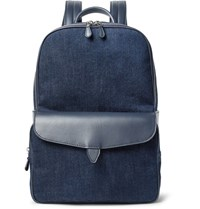 Loro Piana Journey Leather Trimmed Denim Backpack Dark Denim
