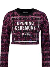 Opening Ceremony Cropped Printed Cotton Terry Sweatshirt Violet