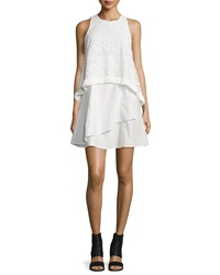 Derek Lam Empire Lace Flounce Dress With Fringe White