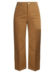 Golden Goose Contrast Stitch Wide Leg Trousers Camel