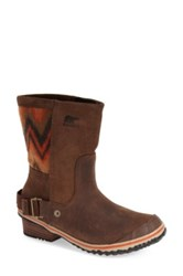 Sorel 'Slimshortie Tm ' Chevron Waterproof Boot Women Brown