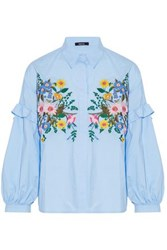 Raoul Ruffle Trimmed Floral Embroidered Cotton Poplin Shirt Sky Blue