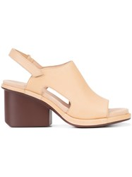 Camper Mid Heel Slingback Sandals Women Leather Rubber 36 Nude Neutrals