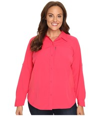 Columbia Plus Size Silver Ridge L S Shirt Punch Pink Women's Long Sleeve Button Up Red