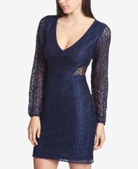 Guess V Neck Lace Illusion Dress Navy