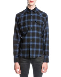 Saint Laurent Plaid Flannel Western Shirt Black Blue Black Blue