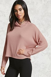 Forever 21 Ribbed Boxy Hoodie Top Mauve