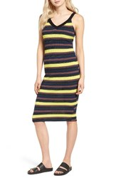 Splendid Women's Jungle Stripe Midi Tank Dress Tennis Black Mix