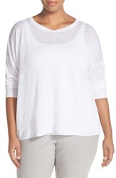 Plus Size Women's Eileen Fisher Organic Linen Lightweight Knit Ballet Neck Top White