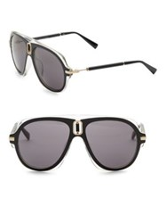 Balmain Smoke Tint 57Mm Aviator Sunglasses Black