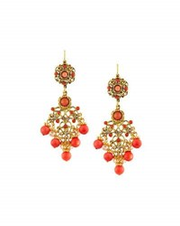 Jose And Maria Barrera Coral Hued Filigree Chandelier Earrings Multi