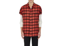R 13 R13 Men's Buffalo Checked Cotton Oversized Shirt Red