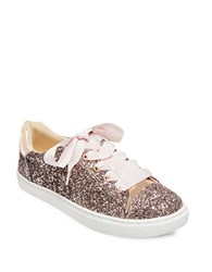 Betsey Johnson Rae Glittered Lace Up Sneakers Blush