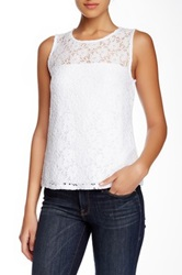 Laundry By Shelli Segal Passion Flower Lace Tank White