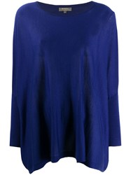 N.Peal Round Neck Cashmere Poncho Blue