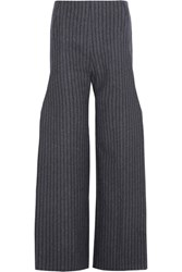 Jacquemus Pinstriped Wool Blend Wide Leg Pants Gray