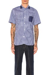 Junya Watanabe Cotton Tartan Check And Cotton Stripe Shirt In Abstract Blue Checkered And Plaid White Abstract Blue Checkered And Plaid White
