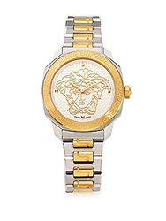 Versace Dylos Goldtone And Stainless Steel Logo Watch