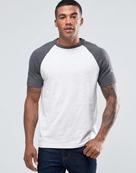 Asos T Shirt With Contrast Raglan Sleeves In White Navy Lt Grey Ml Charcoal