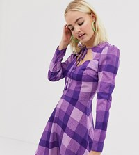 Reclaimed Vintage Inspired Dress With Tie Neck In Check Purple