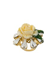 Dolce And Gabbana Crystal Rose Ring White