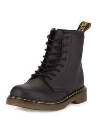 Dr. Martens Delaney Matte Leather Military Boot Black Youth