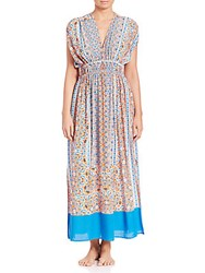 Shoshanna Boho Draw Sleeve Maxi Dress Papaya Multicolor