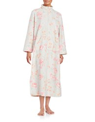 Miss Elaine Floral Print Zip Up Duster Robe Pink