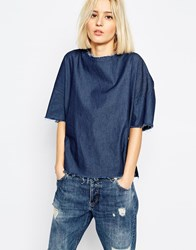 Dr. Denim Dr Denim Denim T Shirt With Raw Hem Rinsedblue