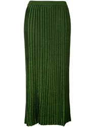 D'enia Metallic Pleated Skirt Women Nylon Polyester Acetate S Green