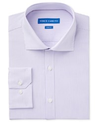 Vince Camuto Men's Slim Fit Purple White Dobby Stripe Dress Shirt Purple White