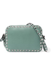 Valentino The Rockstud Leather Camera Bag Gray Green