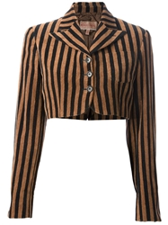 Romeo Gigli Vintage Cropped Striped Bolero Jacket Black