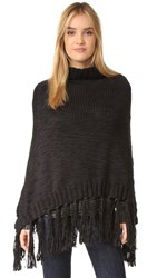 Hat Attack Knit Poncho Black