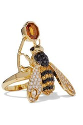 Noir Jewelry Woman Gold Tone Crystal Ring Gold