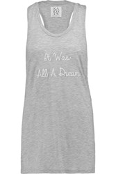 Zoe Karssen It Was All A Dream Embroidered Jersey Tank Gray