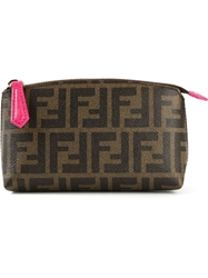 Fendi Ff Logo Make Up Bag Brown
