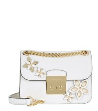 Michael Michael Kors Small Sloan Flowers Chain Crossbody Bag Female White