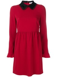 Red Valentino Bow Collar Dress Women Silk Polyester 40 Red