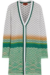 Missoni Crochet Knit Cardigan White